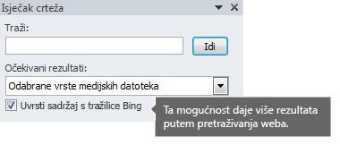 Ako uključite mogućnost Uvrsti sadržaj s tražilice Bing, prikazat će se više rezultata pretraživanja koje možete odabrati.