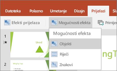 Prikazuje prijelaza > izbornik mogućnosti efekta u programu PowerPoint za Android.