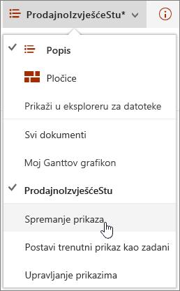 Izbornik mogućnosti prikaz Online sustava SharePoint s Spremi istaknuta