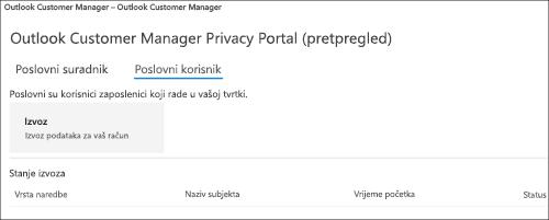 Snimka zaslona s primjerom: Upravitelj klijenta za Outlook izvoza podataka o zaposlenicima