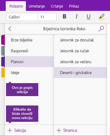 Snimka zaslona s prikazom gumba Dodaj Sekciju u programu OneNote
