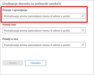 Snimka zaslona: Dodavanje korisnika za čitanje i upravljanje poštanski sandučić za tog korisnika