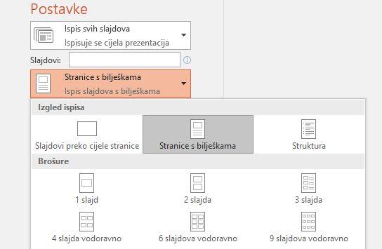 snimka zaslona mogućnosti ispisa bilježaka