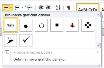 Biblioteka grafičkih oznaka u programu Word 2010