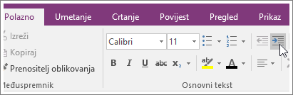 Snimka zaslona s gumbom Povećaj uvlaku u programu OneNote 2016.