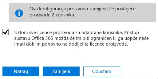 Potvrdite okvir da biste uklonili sve licence za odabrane korisničke račune.