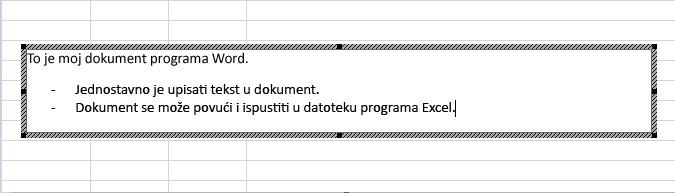 Taj je ugrađeni objekt dokument programa Word.