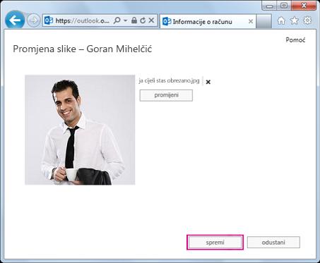 Snimka zaslona s dijaloškim okvirom Promjena slike s istaknutim gumbom Spremi