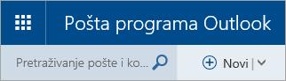Snimka zaslona gornjeg lijevog kuta klasičnog poštanskog sandučića servisa Outlook.com