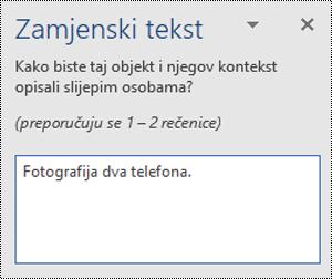Primjer loše zamjenski tekst u programu Word za Windows.