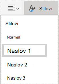 Mogućnosti stilova naslova u programu OneNote Online.