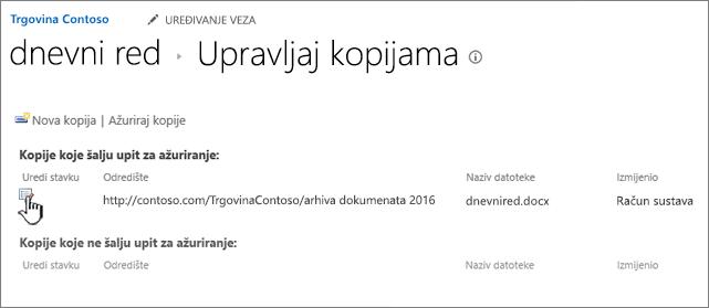 Kliknite Uređivanje u prozoru za upravljanje datotekama