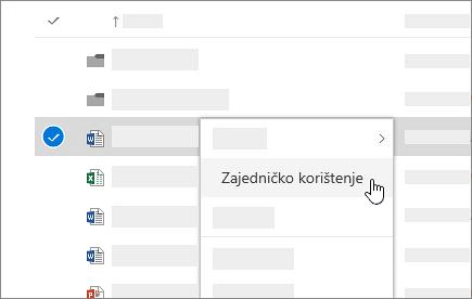 Snimka zaslona izbornika prečaca na servisu OneDrive za tvrtke na mreži.