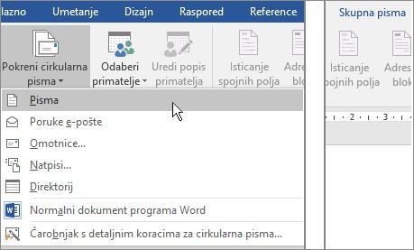 U programu Word, na kartici skupna pisma odaberite Pokreni cirkularna pisma, a zatim odaberite neku mogućnost.