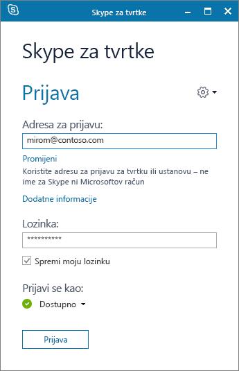 Snimka zaslona na kojoj se prikazuje zaslon za prijavu u Skype za tvrtke.