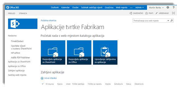 Snimka zaslona početne stranice web-mjesta kataloga aplikacija.