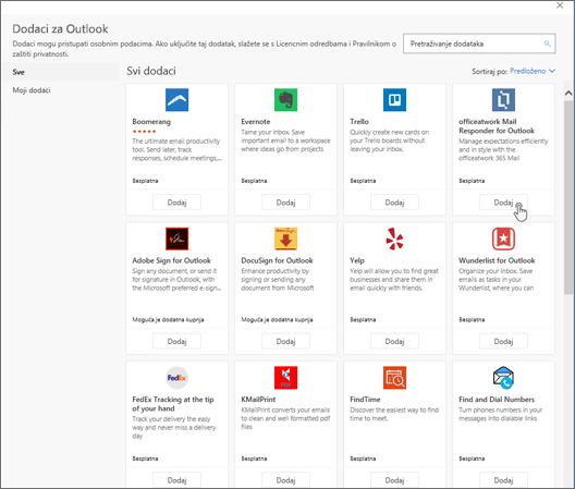 Snimka zaslona s prikazom stranice Dodaci za Outlook.