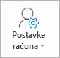 Gumb postavke računa u programu Outlook