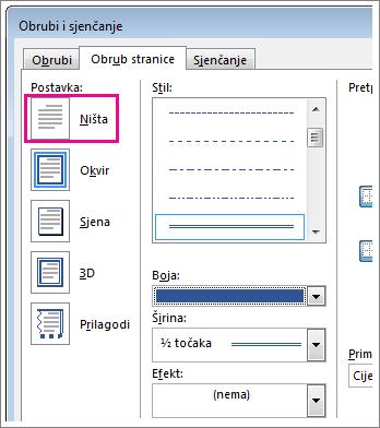 Dijaloški okvir s postavkama obruba stranice