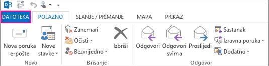 Ovako izgleda vrpca programa Outlook za stolna računala.