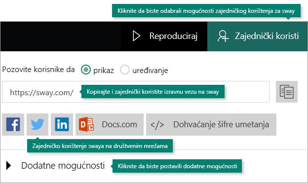 Mogućnosti zajedničkog korištenja u aplikaciji Sway