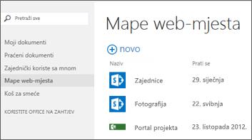 Na traci za brze radnje u sustavu Office 365 odaberite Mape web-mjesta da biste vidjeli popis web-mjesta sustava SharePoint Online koja pratite.