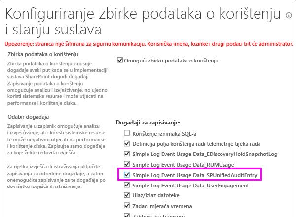 Mogućnost za uključivanje DLP korištenje zapisnika