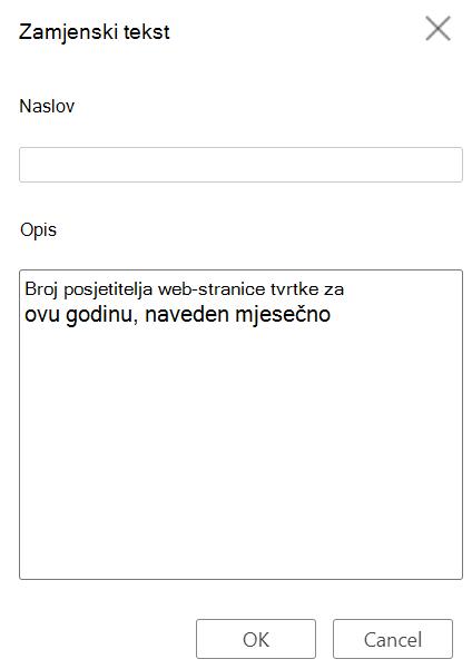 Dijaloški okvir Zamjenski tekst tablice u programu Word za web.