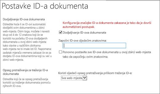 Dodjela ID-ova dokumenata na stranicu s postavkama ID dokumenta