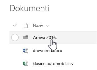 Biblioteku dokumenata sustava SharePoint Online s mapom istaknuta