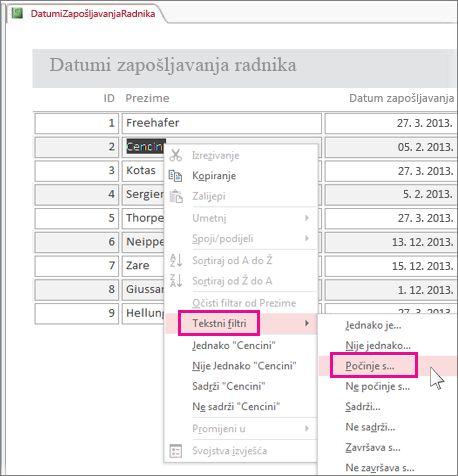 Primjena filtra u izvješću desnim klikom na vrijednost u prikazu izvješća.