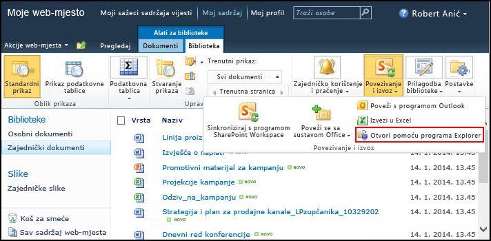 Mapa zajedničkih dokumenata sustava SharePoint 2010, mogućnost Otvori pomoću programa Explorer