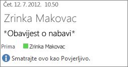 E-pošta označena kao povjerljiva