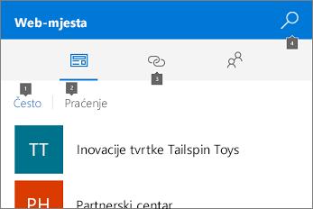 Snimka zaslona kartice Web-mjesta