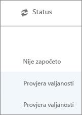 Na stranici Migracija podataka prikazano je stanje migracije za svakog korisnika