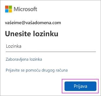 Unesite lozinku za Outlook.com