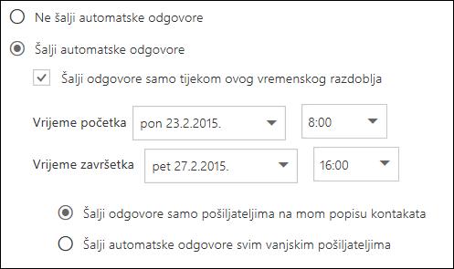 Postavljanje vremena za automatske odgovore programa Outlook na webu
