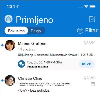 Fokusirana ulazna pošta u programu Outlook Mobile
