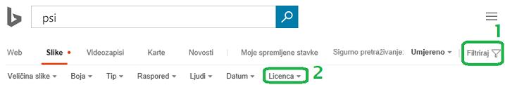 Kliknite gumb filtar na desnoj margini prozora, a zatim kliknite izbornik za filtar za licence.