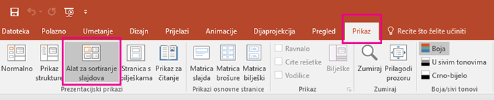 Na kartici Prikaz kliknite Alat za sortiranje slajdova.