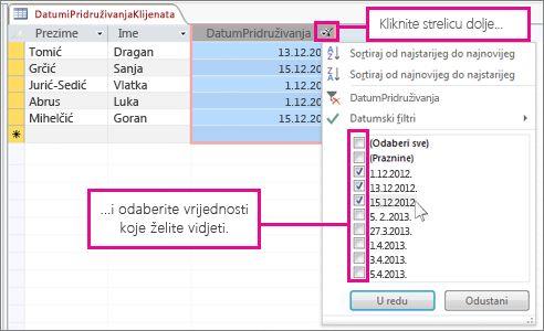 Filtriranje stupca upita u bazi podataka za stolna računala.