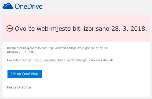 Snimka zaslona poruke e-pošte