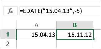 Oduzimanje mjeseci od datuma