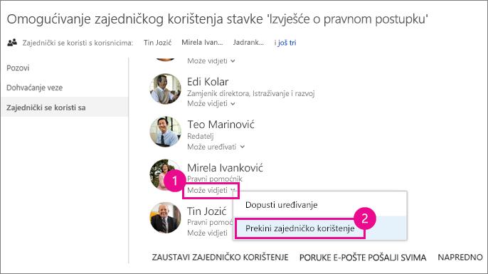 Snimka zaslona prekida zajedničkog korištenja s jednom osobom