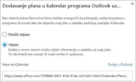 Snimka zaslona dijaloškog okvira Dodavanje plana u kalendar programa Outlook