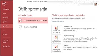 Mogućnost Spremanje u obliku baze podataka na zaslonu Spremanje u obliku