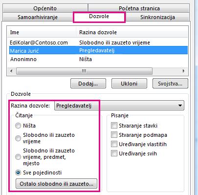 Kartica dozvola za zajedničko korištenje kalendara u programu Outlook 2013
