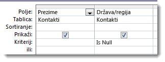 Slike s prikazom polja kriterija koja imaju vrijednost null