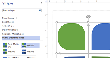 Popis raspoloživih oblika na lijevoj strani slike i odabrani oblik na desnoj