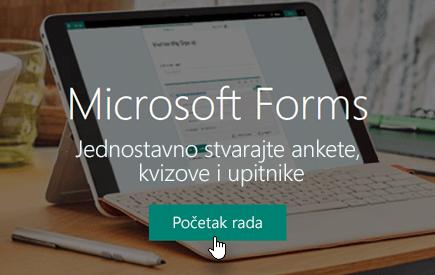 Gumb Početak rada na početnoj stranici aplikacije Microsoft Forms